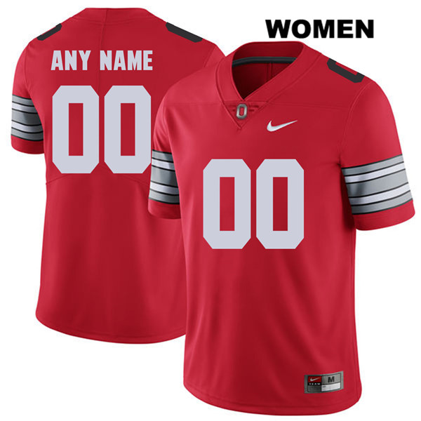 2018 Spring Game Customize Womens Red Stitched Ohio State Buckeyes Nike Authentic customize College Football Jersey - Ohio State Buckeyes Jersey