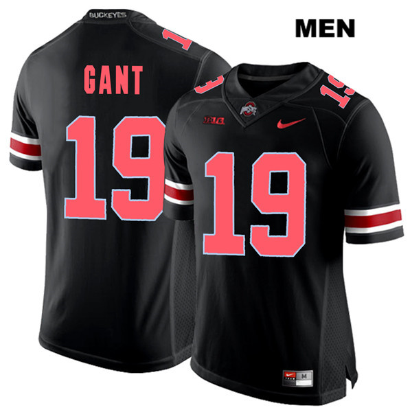 Dallas Gant Mens Black Stitched Ohio State Buckeyes Nike Authentic Red Font no. 19 College Football Jersey - Dallas Gant Jersey