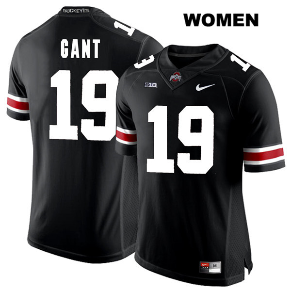 Dallas Gant Stitched Womens Nike Black Ohio State Buckeyes Authentic White Font no. 19 College Football Jersey - Dallas Gant Jersey