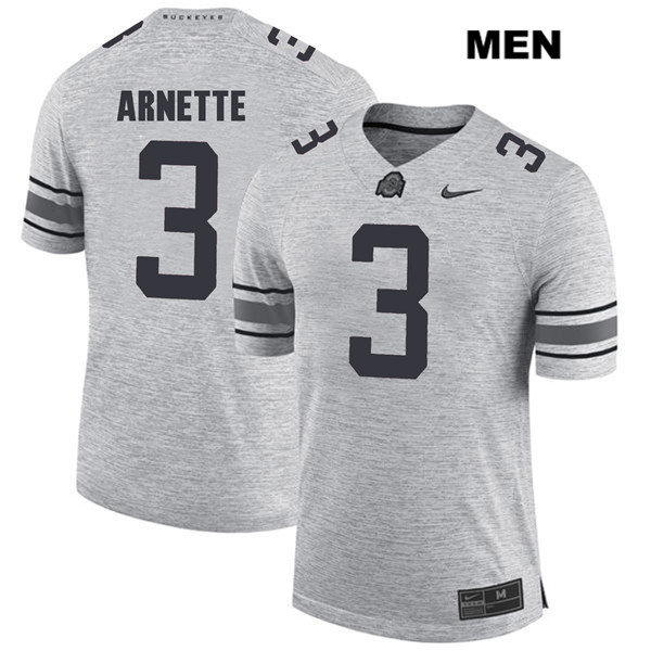 Damon Arnette Mens Nike Gray Stitched Ohio State Buckeyes Authentic no. 3 College Football Jersey - Damon Arnette Jersey