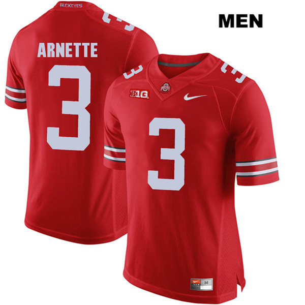 Damon Arnette Mens Red Stitched Ohio State Buckeyes Authentic Nike no. 3 College Football Jersey - Damon Arnette Jersey