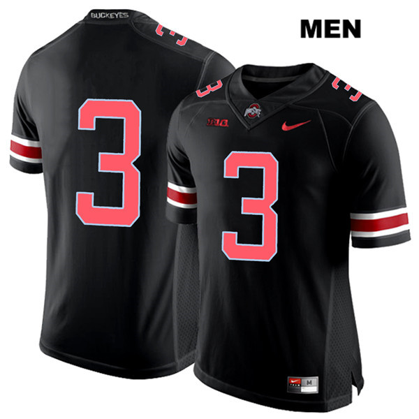 Damon Arnette Red Font Mens Nike Stitched Black Ohio State Buckeyes Authentic no. 3 College Football Jersey - Without Name - Damon Arnette Jersey