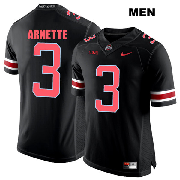 Damon Arnette Red Font Stitched Mens Black Ohio State Buckeyes Nike Authentic no. 3 College Football Jersey - Damon Arnette Jersey