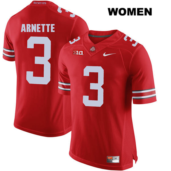 Damon Arnette Womens Nike Red Ohio State Buckeyes Authentic Stitched no. 3 College Football Jersey - Damon Arnette Jersey