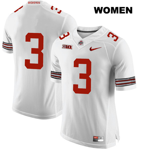 Damon Arnette Womens White Stitched Ohio State Buckeyes Nike Authentic no. 3 College Football Jersey - Without Name - Damon Arnette Jersey