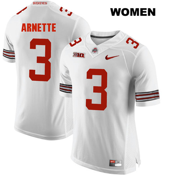 Damon Arnette Womens White Stitched Ohio State Buckeyes Nike Authentic no. 3 College Football Jersey - Damon Arnette Jersey