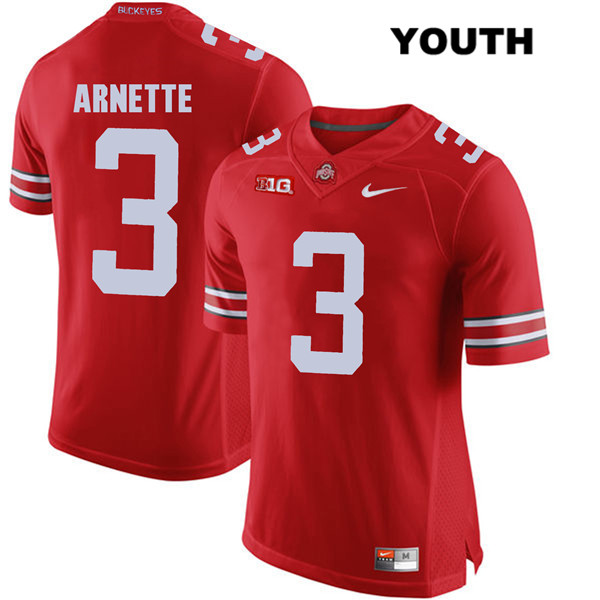 Damon Arnette Youth Nike Red Ohio State Buckeyes Stitched Authentic no. 3 College Football Jersey - Damon Arnette Jersey