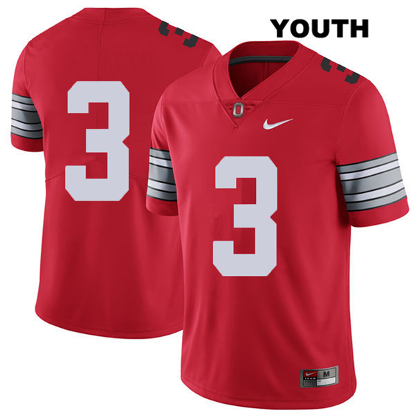 Damon Arnette 2018 Spring Game Youth Red Ohio State Buckeyes Stitched Nike Authentic no. 3 College Football Jersey - Without Name - Damon Arnette Jersey