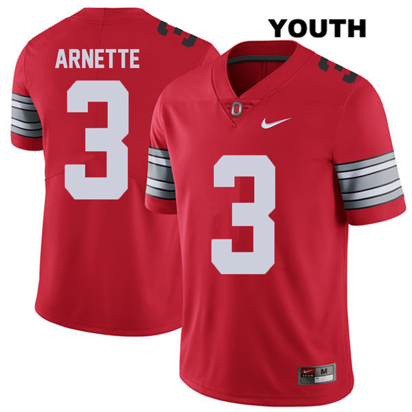Damon Arnette Stitched Youth Red 2018 Spring Game Ohio State Buckeyes Nike Authentic no. 3 College Football Jersey - Damon Arnette Jersey