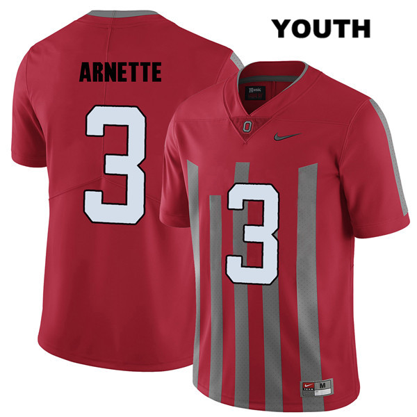 Damon Arnette Nike Youth Red Stitched Ohio State Buckeyes Authentic Elite no. 3 College Football Jersey - Damon Arnette Jersey
