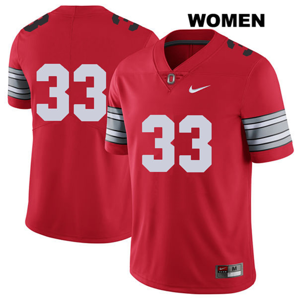 2018 Spring Game Dante Booker Stitched Womens Nike Red Ohio State Buckeyes Authentic no. 33 College Football Jersey - Without Name - Ohio State Buckeyes Jersey