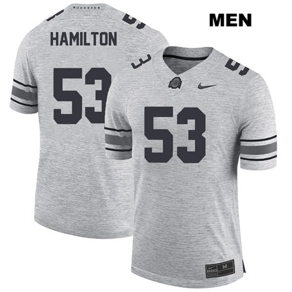 Davon Hamilton Mens Nike Gray Stitched Ohio State Buckeyes Authentic no. 53 College Football Jersey - Davon Hamilton Jersey