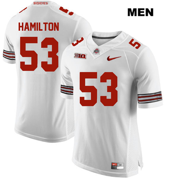 Davon Hamilton Nike Mens Stitched White Ohio State Buckeyes Authentic no. 53 College Football Jersey - Davon Hamilton Jersey