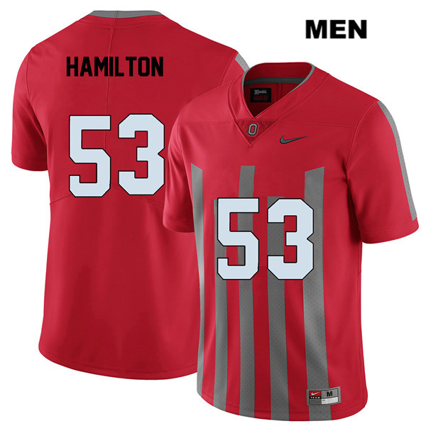 Davon Hamilton Mens Red Nike Ohio State Buckeyes Stitched Elite Authentic no. 53 College Football Jersey - Davon Hamilton Jersey