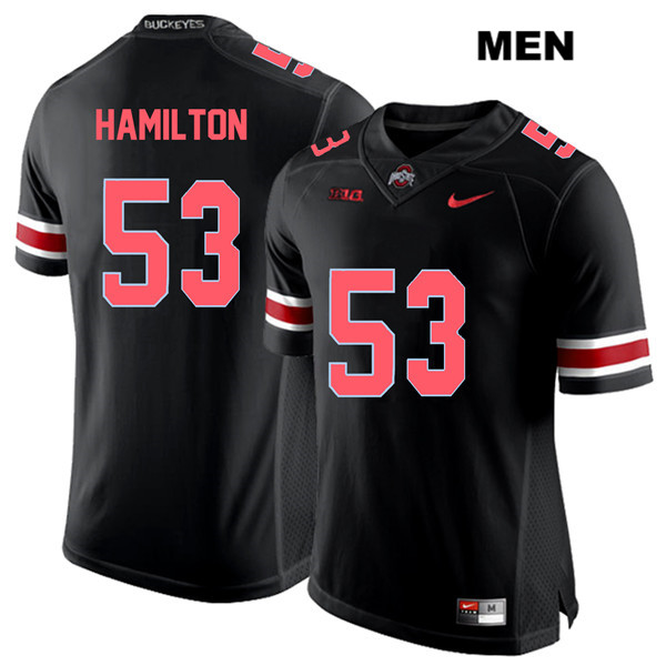 Davon Hamilton Stitched Mens Black Ohio State Buckeyes Red Font Authentic Nike no. 53 College Football Jersey - Davon Hamilton Jersey