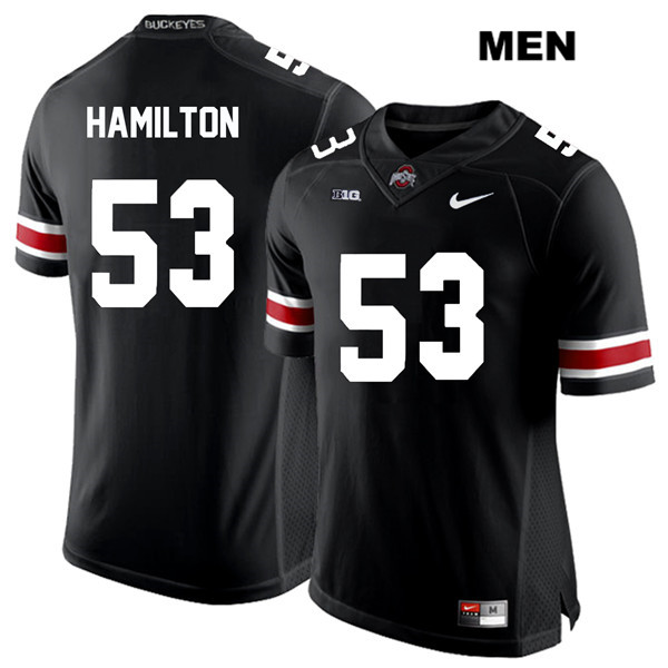 Davon Hamilton Nike Stitched Mens White Font Black Ohio State Buckeyes Authentic no. 53 College Football Jersey - Davon Hamilton Jersey