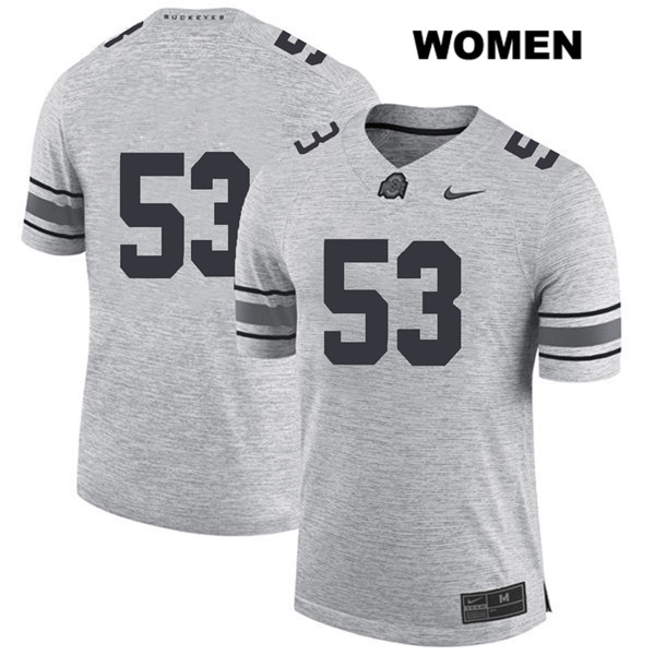 Davon Hamilton Womens Stitched Gray Ohio State Buckeyes Nike Authentic no. 53 College Football Jersey - Without Name - Davon Hamilton Jersey