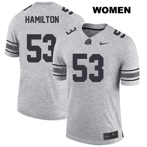 Davon Hamilton Womens Gray Ohio State Buckeyes Nike Authentic Stitched no. 53 College Football Jersey - Davon Hamilton Jersey