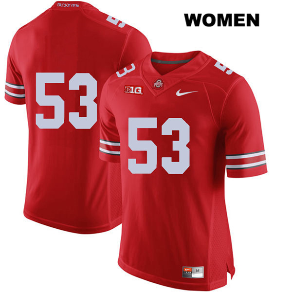 Davon Hamilton Womens Nike Red Ohio State Buckeyes Authentic Stitched no. 53 College Football Jersey - Without Name - Davon Hamilton Jersey