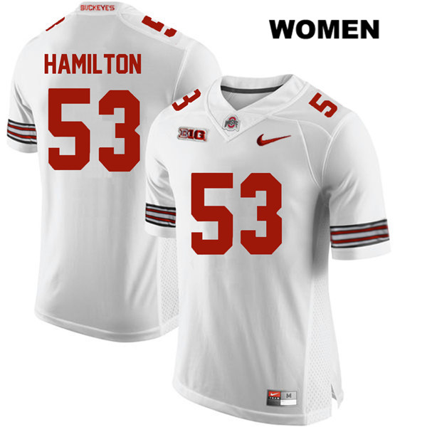 Davon Hamilton Stitched Womens Nike White Ohio State Buckeyes Authentic no. 53 College Football Jersey - Davon Hamilton Jersey