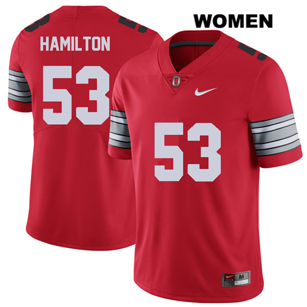 Davon Hamilton Womens Nike Red 2018 Spring Game Ohio State Buckeyes Stitched Authentic no. 53 College Football Jersey - Davon Hamilton Jersey