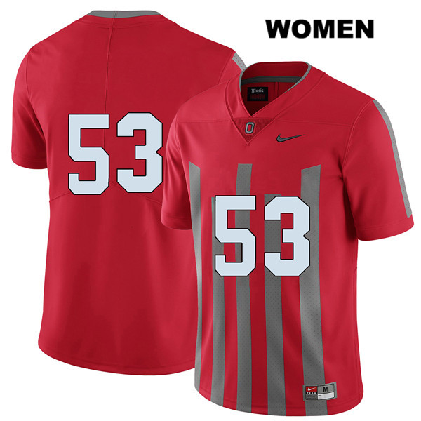 Davon Hamilton Stitched Womens Red Ohio State Buckeyes Nike Authentic Elite no. 53 College Football Jersey - Without Name - Davon Hamilton Jersey