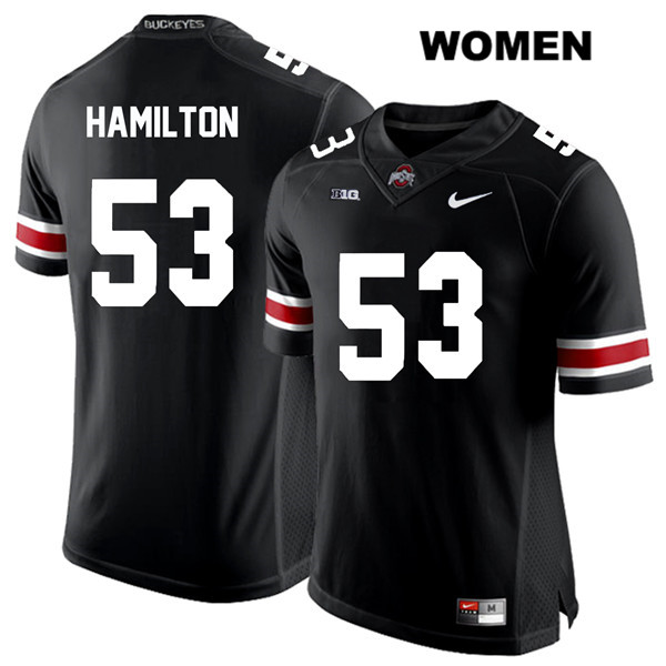 Davon Hamilton Womens White Font Black Ohio State Buckeyes Nike Stitched Authentic no. 53 College Football Jersey - Davon Hamilton Jersey
