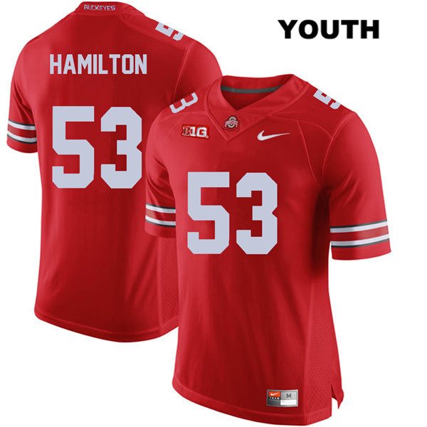 Davon Hamilton Nike Youth Red Ohio State Buckeyes Authentic Stitched no. 53 College Football Jersey - Davon Hamilton Jersey