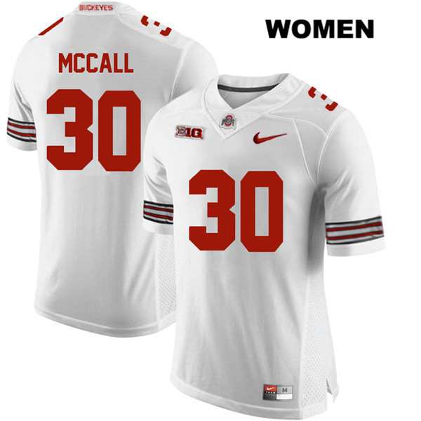Demario McCall Womens Stitched White Ohio State Buckeyes Authentic Nike no. 30 College Football Jersey