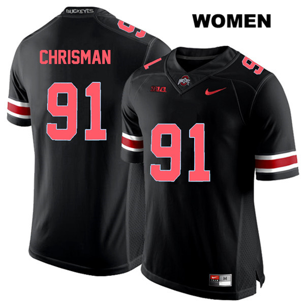 Drue Chrisman Womens Nike Black Ohio State Buckeyes Red Font Authentic Stitched no. 91 College Football Jersey