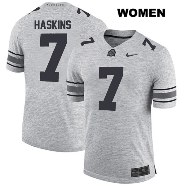 Dwayne Haskins Womens Gray Stitched Ohio State Buckeyes Nike Authentic no. 7 College Football Jersey - Dwayne Haskins Jersey