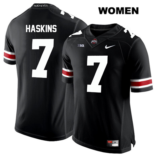 Dwayne Haskins White Font Womens Black Nike Ohio State Buckeyes Stitched Authentic no. 7 College Football Jersey - Dwayne Haskins Jersey