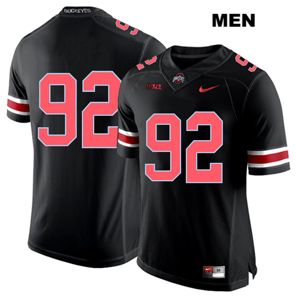 Haskell Garrett Mens Stitched Black Ohio State Buckeyes Authentic Red Font Nike no. 92 College Football Jersey - Without Name - Haskell Garrett Jersey