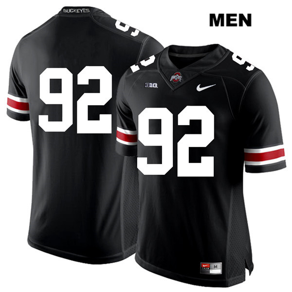 Haskell Garrett Mens Nike Black Ohio State Buckeyes Stitched Authentic White Font no. 92 College Football Jersey - Without Name - Haskell Garrett Jersey