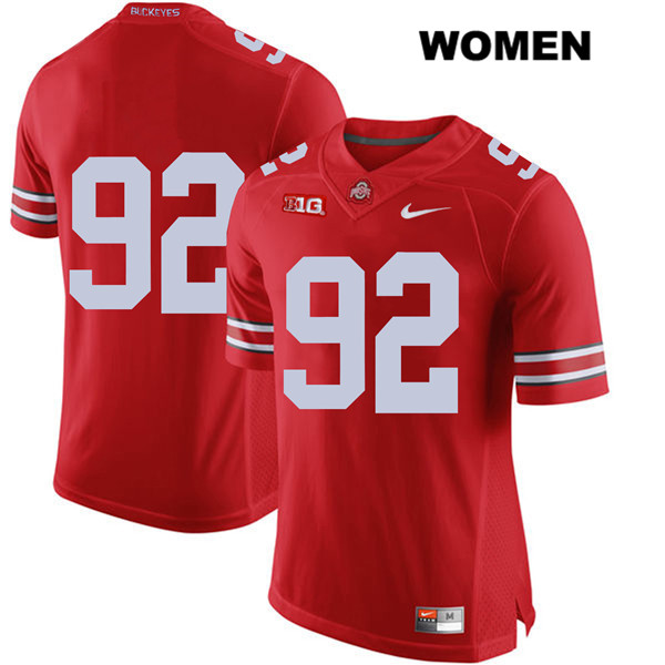 Haskell Garrett Womens Red Stitched Ohio State Buckeyes Authentic Nike no. 92 College Football Jersey - Without Name - Haskell Garrett Jersey