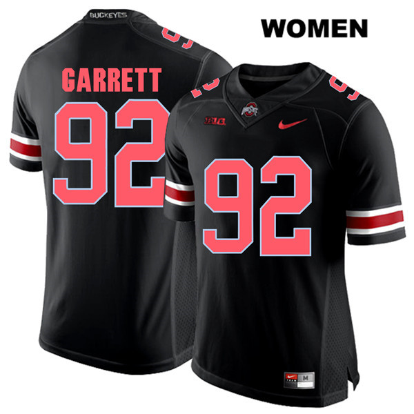 Haskell Garrett Womens Black Ohio State Buckeyes Red Font Authentic Stitched Nike no. 92 College Football Jersey - Haskell Garrett Jersey