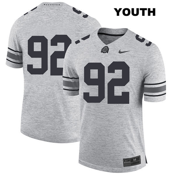 Haskell Garrett Youth Nike Gray Stitched Ohio State Buckeyes Authentic no. 92 College Football Jersey - Without Name - Haskell Garrett Jersey