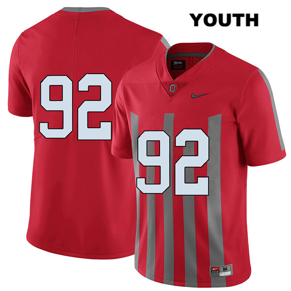 Haskell Garrett Youth Elite Red Nike Ohio State Buckeyes Authentic Stitched no. 92 College Football Jersey - Without Name - Haskell Garrett Jersey