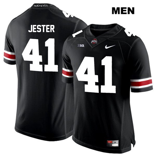 Hayden Jester Stitched Mens Nike Black White Font Ohio State Buckeyes Authentic no. 41 College Football Jersey - Hayden Jester Jersey