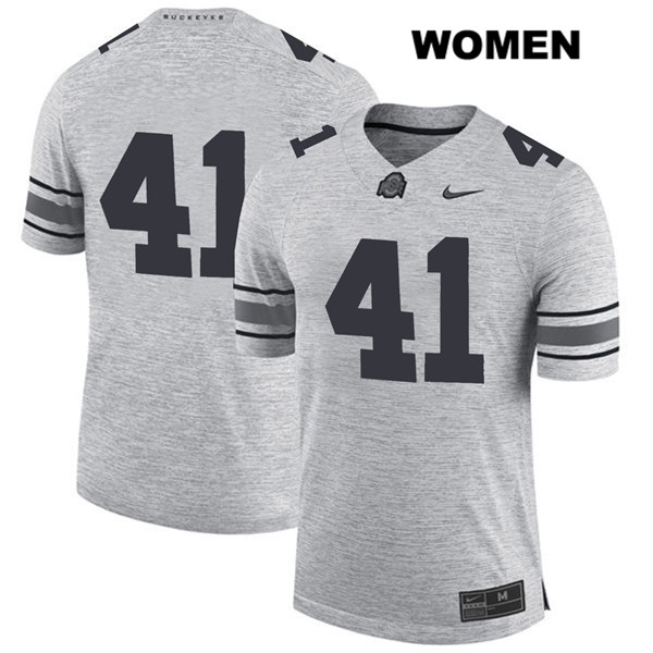 Hayden Jester Womens Gray Stitched Ohio State Buckeyes Nike Authentic no. 41 College Football Jersey - Without Name - Hayden Jester Jersey