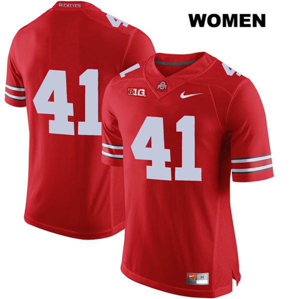 Hayden Jester Womens Nike Red Stitched Ohio State Buckeyes Authentic no. 41 College Football Jersey - Without Name - Hayden Jester Jersey