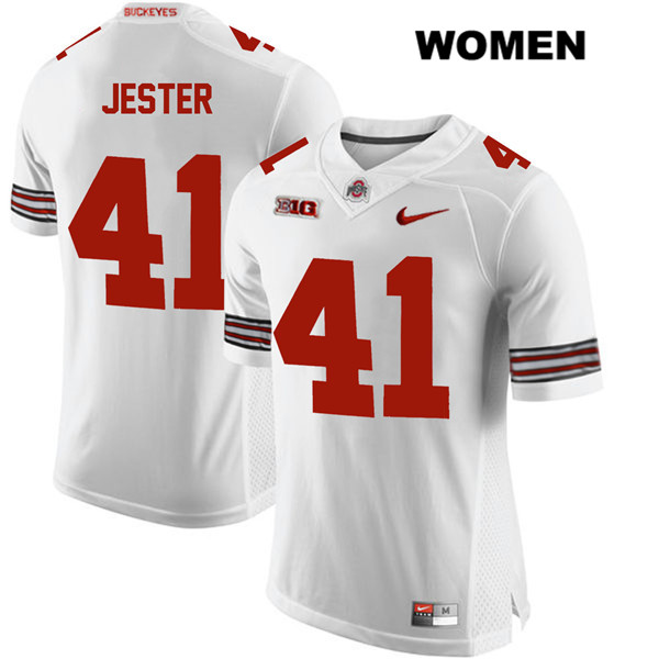 Hayden Jester Stitched Womens White Ohio State Buckeyes Authentic Nike no. 41 College Football Jersey - Hayden Jester Jersey
