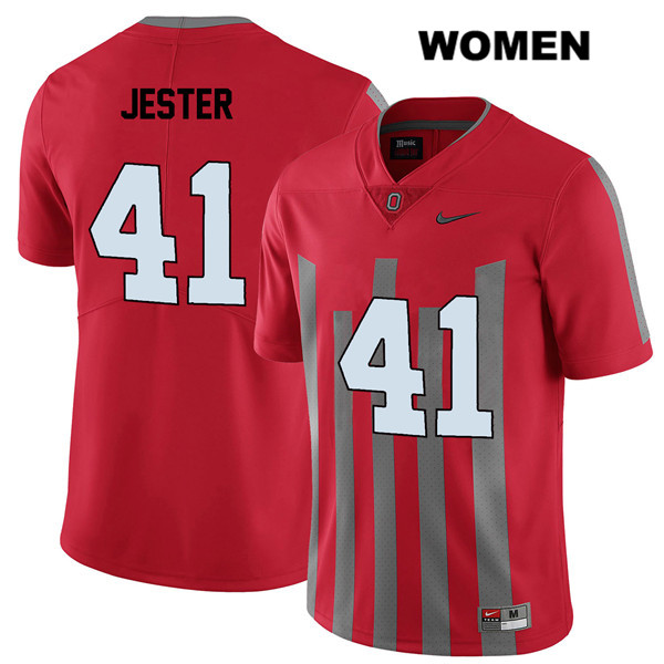 Hayden Jester Nike Womens Red Stitched Ohio State Buckeyes Elite Authentic no. 41 College Football Jersey - Hayden Jester Jersey