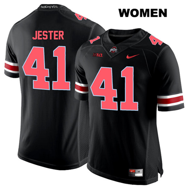 Hayden Jester Red Font Womens Stitched Black Ohio State Buckeyes Authentic Nike no. 41 College Football Jersey - Hayden Jester Jersey