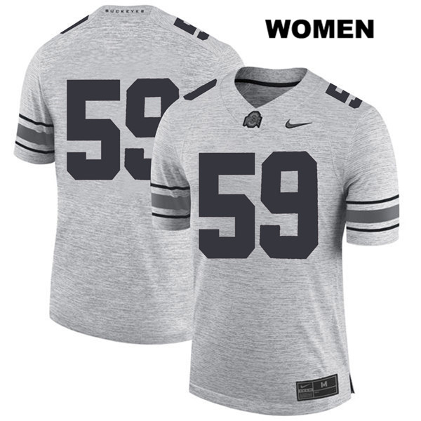 Isaiah Prince Womens Nike Gray Ohio State Buckeyes Authentic Stitched no. 59 College Football Jersey - Without Name - Isaiah Prince Jersey