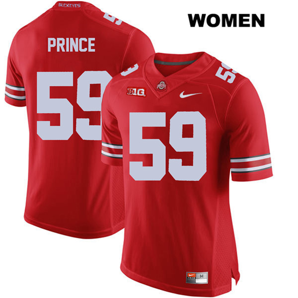 Isaiah Prince Womens Nike Red Stitched Ohio State Buckeyes Authentic no. 59 College Football Jersey - Isaiah Prince Jersey