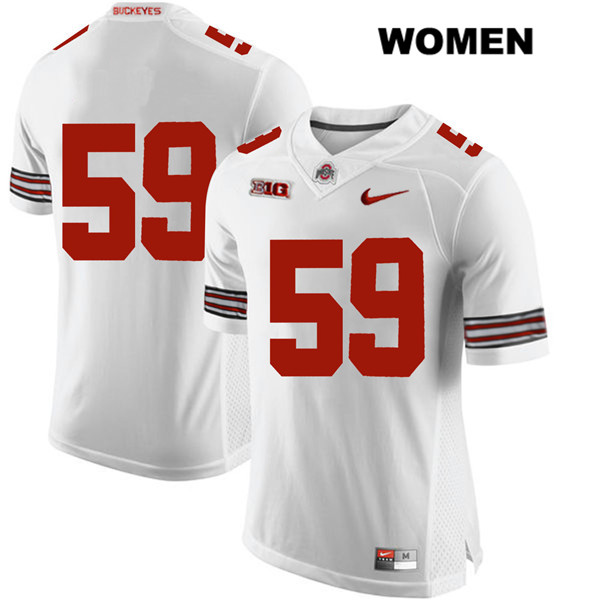 Isaiah Prince Womens Stitched White Ohio State Buckeyes Nike Authentic no. 59 College Football Jersey - Without Name - Isaiah Prince Jersey