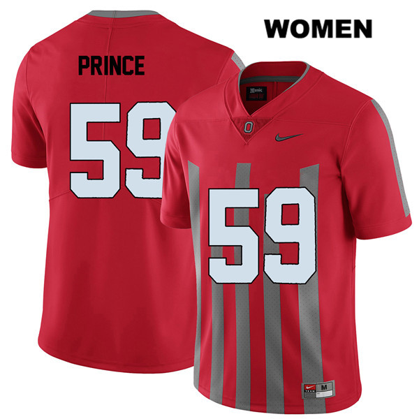 Elite Isaiah Prince Womens Stitched Red Ohio State Buckeyes Authentic Nike no. 59 College Football Jersey - Isaiah Prince Jersey