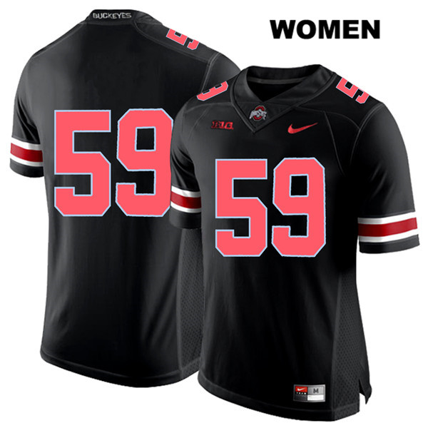Isaiah Prince Red Font Womens Black Stitched Ohio State Buckeyes Authentic Nike no. 59 College Football Jersey - Without Name - Isaiah Prince Jersey