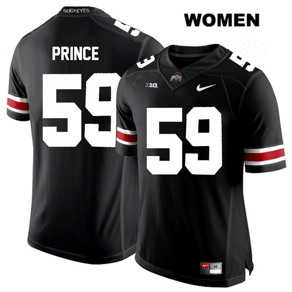 Isaiah Prince Womens Stitched Black Ohio State Buckeyes Nike Authentic White Font no. 59 College Football Jersey - Isaiah Prince Jersey